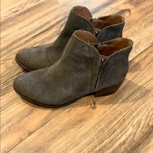 Gray Leather Lucky Brand Booties